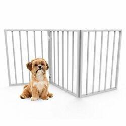 Foldable, Free-Standing Wooden Pet, Indoor Barrier for Small Dogs / Cats- White $33.05