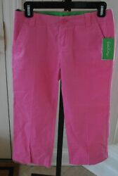 Lilly Pulitzer Palm Beach Fit capri pants sz 0 NEW preppy pink hibiscus tags $22.99