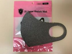 [ship from USA]  3D Copper Infused face Mask[gray]. Summer Mask - Made in Korea $5.49