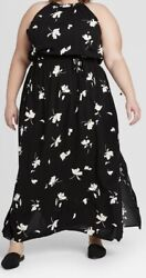 Ava amp; Viv Woman's Floral Sleeveless Smoked Halter Neck Black Maxi Dress 1X $24.99