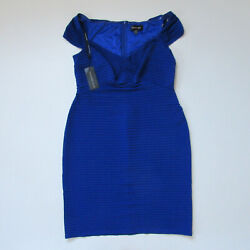 NWT TADASHI SHOJI Cicero in Lake Blue Off-Shoulder Pintuck Sheath Dress XXL  18