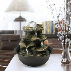 Tabletop Water Fountain Zen Meditation Indoor Waterfall Feature with LED Light $29.99