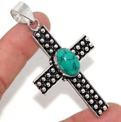 Cross Turquoise 925 Sterling Silver Plated Pendant 2.8