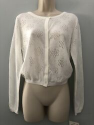 NWT Falls Creek Girls White Ivory Cardigan Size XL 14 16 long sleeve button up $12.50