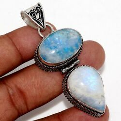 Rainbow Moonstone 925 Sterling Silver Plated Pendant 2.4
