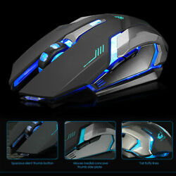 LED Rechargeable Wireless Backlit USB Optical Ergonomic Gaming X7 Mouse Mice USA $11.58