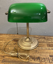 Antique Bankers Desk Lamp Brass Green Glass Shade Pull Chain NICE! $100.00
