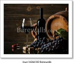 Still Life With Red Wine Art Print Canvas Print. Poster Wall Art Home Decor $46.95