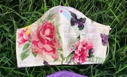 Adult Face Mask ADJUSTABLE Floral Butterflies Cool Washable wFilter Nose Wire $10.99