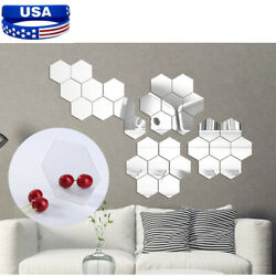 12PCS 3D Mirror Wall Stickers 8*7*4cm Removable Hexagon DIY Acrylic Room Decor $6.20