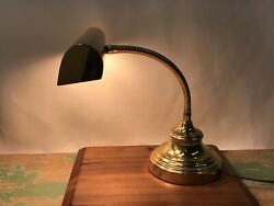 Vtg Brass Bankers Desk Lamp Art Deco Adjustable Arm Gold Piano Library Gooseneck $59.99