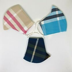 3 Pcs COTTON Face Mask Plaid Design - Fast Shipping from USA $11.99