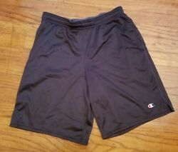 Champion Shorts Men's Medium Basketball Mesh Drawstring Black Streetwear $18.86