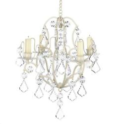 Exquisite Faux Crystal IVORY BAROQUE CHANDELIER Candle Holder Hanging Decor $37.95