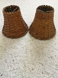 Lamp Shades Small Wicker Woven Rattan Medium Brown Natural Set of TWO 2 $24.99