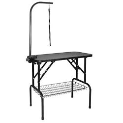 32quot; Large Dog Cat Pet Grooming Table Portable Arm Noose Mesh Tray Rubber Mat $74.99