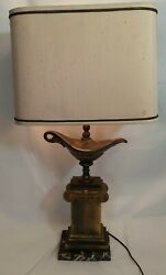 Aladdin Brass Table Lamp by Frederik Cooper by Chicago Marble Base a Vintage Gem $157.99
