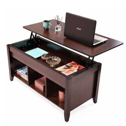 Lift Top Coffee Table w Hidden Compartment and Storage Shelves FurnitureWooden $95.99
