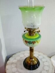Sherwood#x27;s England Antique Green Victorian Duplex Oil Lamp VERY RARE $425.00