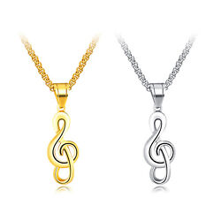 Classic Stainless Steel Music Note Pendant Necklace for Men Women55cm Box Chain