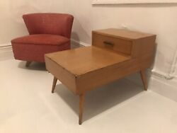 Vintage 1950s Step Top Side Tables Drawer Mid Century McCobb Style $175.00