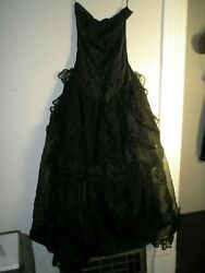 Vintage 80's Avant Garde Black Gothic Dress Lace & Sheer Skirt and Train Size M $65.00