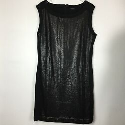 Ann Taylor Size 14 Black Sequin Sleeveless Round Neck Knee Length Dress W201