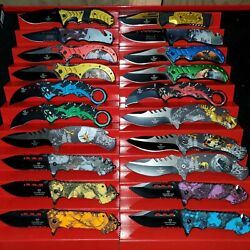 NEW WHOLESALE LOT 20 PCS TACTICAL ASSORTED SPRING FOLDING ASSISTED POCKET KNIFE $74.99