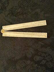 Antique 12 inch folding ruler Bone & Brass Engineer angles and straight lines $175.00