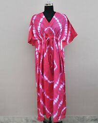 Pink kaftan Indian cotton kimono beach cover up long dress causal wear $39.99