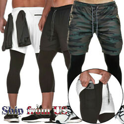 Men#x27;s Sports Training Fitness Workout Running Shorts w Compression Lining Pants $17.99