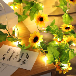 Artificial Sunflower Led String Light Battery Wedding Party Outdoor Lights $8.54