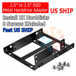 Dual 2.5quot; SSD HDD to 3.5quot; Metal Mount PC Casing Hard Drive Bay Bracket Adapter $4.75
