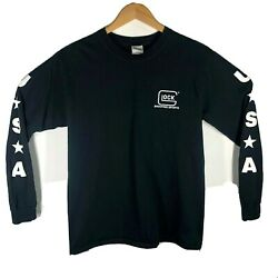 Glock Shooting Sports Black Vintage Long Sleeve Double Sided TShirt M Deadstock $39.97