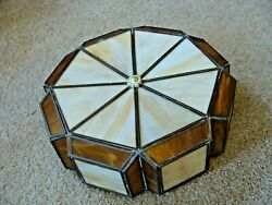 Vintage Flush Mount Ceiling Light Stained Glass Shade Fixture Mid-Century Modern $67.95