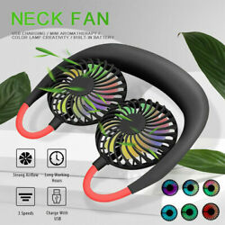 Neckband Portable Sport Fan Lazy Neck Hanging Dual Cooling Fan USB Rechargeable $7.98