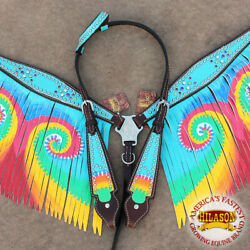 Western Horse Headstall Breast Collar Set Tack American Leather Hilason $104.99