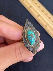 """Vintage 1.5"""" Native American Navajo Sterling Silver Turquoise Leaf Ring Size 10"""