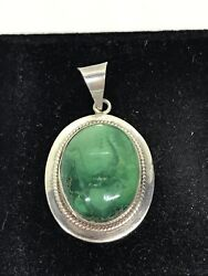 Vintage Sterling Silver 925 Navajo Native American Oval Turquoise Pendant