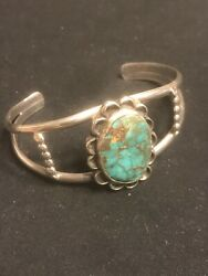Vintage Native American Navajo Bisbee Turquoise Coin Silver Cuff Bracelet