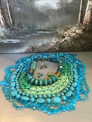 BOHO ECLECTIC HIPPIE GYPSY HANDMADE SHADES OF BLUE VINTAGE NOW JEWELRY LOT WOW $32.79