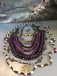 BOHO ECLECTIC HIPPIE GYPSY HANDMADE SHADES OF PURPLE VINTAGE NOW JEWELRY LOT $32.79