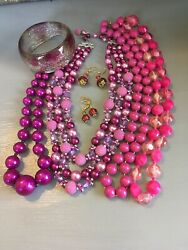 BOHO ECLECTIC HIPPIE GYPSY HANDMADE SHADES OF PINK VINTAGE NOW JEWELRY LOT WOW $32.79