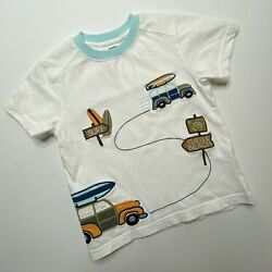 Gymboree Tee Tshirt 3T Toddler Cotton Quilted Surf Turtle Beach White Casual $9.96