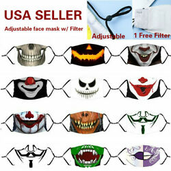 Halloween Zombie Adjustable Cotton Face Mask Washable Reusable 3 Layer filter $5.99