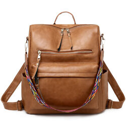 Leather Fashion Backpack Purse Casual Outdoor Large Capacity Travel Shopping Bag $26.99