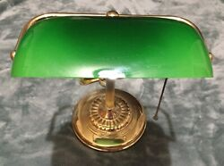 Vintage Banker's Lawyers Brass Green Desk Lamp Excellent $49.99