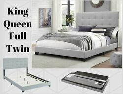 Platform Upholstered Gray Tufted Fabric Bed Frame Headboard King Queen Full Twin $149.00