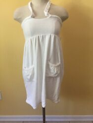 Womens Small White Terry Cloth Beach Cover Up Small New Pockets $10.25