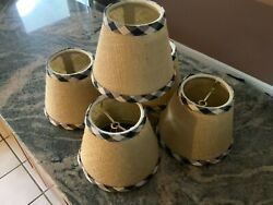 FABULOUS BALLARD DESIGN CHANDELIER SHADESBURLAP WITH BLACKamp;IVORY CHECK SET 5 $85.00